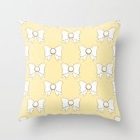 bow Throw Pillows featuring Bow by Little Owl Oddities