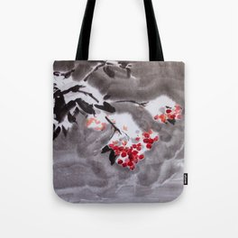 Rowan tree in snow sumie ink watercolor painting Tote Bag