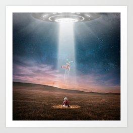 Child and UFO Art Print