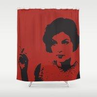 lynch Shower Curtains featuring Twin Peaks Inspired Art |  Audrey Horne | Vector Art | David Lynch TV Series | Sherilyn Fenn by pithyPENNY