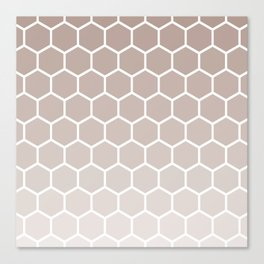 Neutral beige gradient honey comb pattern Canvas Print