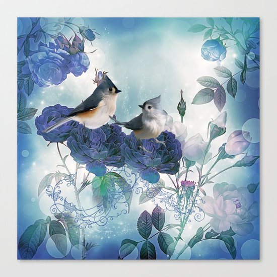Cute birds with flowers Canvas Print