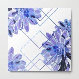 Geometric Echeveria Flowers Design Metal Print