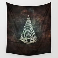 all seeing eye Wall Tapestries featuring All Seeing Eye  by MirKat Design
