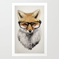 glasses Art Prints featuring Mr. Fox by Isaiah K. Stephens