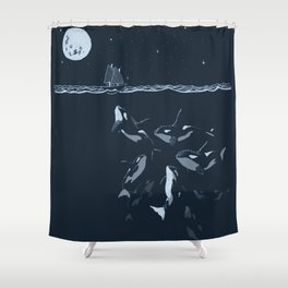 Pod of Killer Whale (Orca) and small boat in midnight ocean scene Shower Curtain