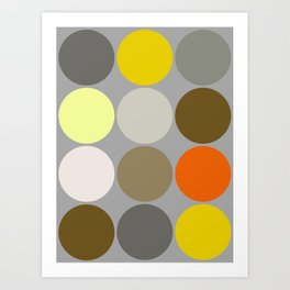 Mid-Century Giant Dots, Gray, Gold and Orange Art Print