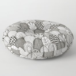 black and white scaley pattern Floor Pillow