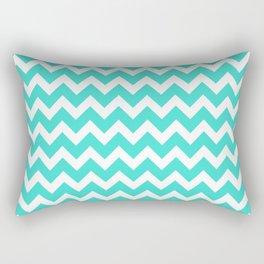 Turquoise and White Chevron Pattern Rectangular Pillow