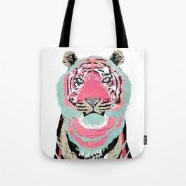 Pink Tiger Collage Tote Bag