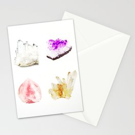 crystals watercolor Stationery Cards
