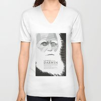 darwin V-neck T-shirts featuring Darwin by James Northcote