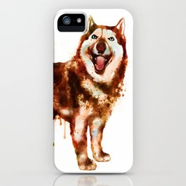 Husky Dog Watercolor Painting iPhone Case