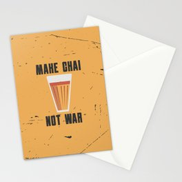 Funny Make Chai Tea Not War Quote Stationery Cards