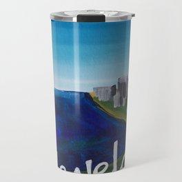 Cleveland CLE Ohio Lake Erie Skyline Painting Travel Mug