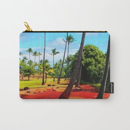 palm trees with green tree and blue cloudy sky in summer Carry-All Pouch