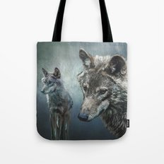 Wolves in moonlight Tote Bag