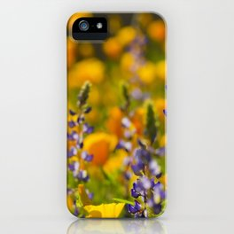 Purple Lupine and Golden Poppies iPhone Case