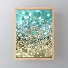Star Mandala on Lemon Twist Beach Glitter #4 #shiny #decor #art #society6 Framed Mini Art Print