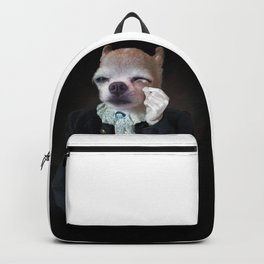 Dog portrait with monocle. Victorian dressed sophisticated pet. Backpack