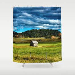 Farm Shed with bellowing sky in the Mountains of Wyoming Shower Curtain