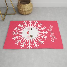 Merry Christmas card design Kawaii white snowflake funny face with eyes and red cheeks on pink Rug