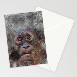 Artistic Animal Orang Baby Stationery Cards