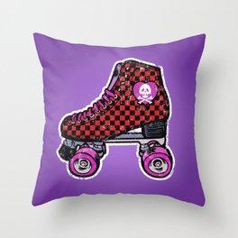 Purple roller skates, retro red checkered skates, skull heart Throw Pillow