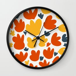 Heart Flowers Yellow Orange Blue Abstract Art Pattern Wall Clock