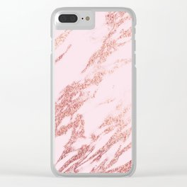 Pastel pink rose gold Clear iPhone Case