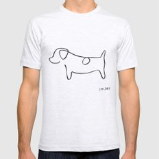 Abstract Jack Russell Terrier Dog Line Drawing Ash Grey Mens Fitted Tee LARGE
