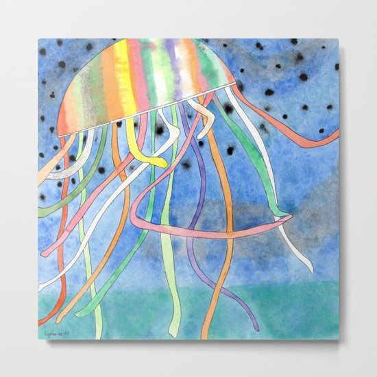 Rainbow Colored Jelly Fish Metal Print
