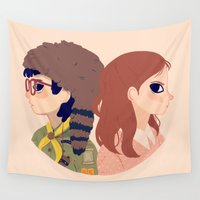 wes anderson Wall Tapestries featuring Sam and Suzy by Nan Lawson