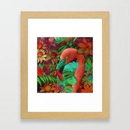 """""""Tropical Floral Retro Flamenco"""" Framed Art Print"""
