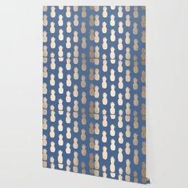 Gold Pineapples on Aegean Blue Wallpaper