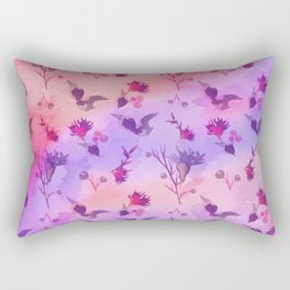 Modern hand painted abstract pink violet watercolor floral Rectangular Pillow