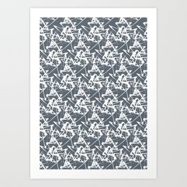 White noise lines on Volcanic Glass color ( Blue ) Art Print
