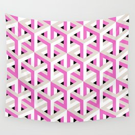 Pink and White Pattern with Grey and Black Fractal Art Wall Tapestry