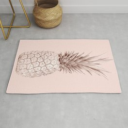 Rose Gold Pineapple on Blush Pink Rug