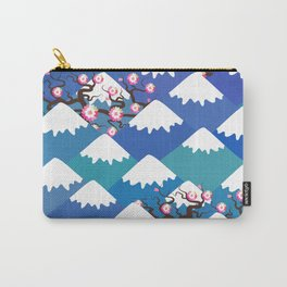 Spring Nature background with Japanese cherry blossoms, sakura pink flowers landscape. blue mountain Carry-All Pouch