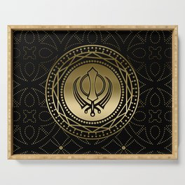 Decorative Khanda symbol gold on black Serving Tray