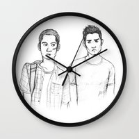teen wolf Wall Clocks featuring Teen and Wolf by Zalazny