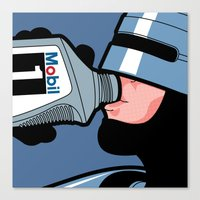 the secret life of heroes Canvas Prints featuring The secret life of heroes - Robot Drink by Greg-guillemin