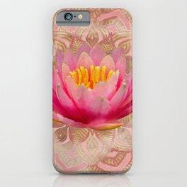 Lotus in Mandala Watercolor Gold and pastel pink iPhone Case