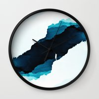 teal Wall Clocks featuring Teal Isolation by Stoian Hitrov - Sto