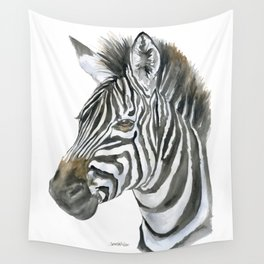 Zebra Watercolor Painting - African Animal Painting Wildlife Head Bust Wall Tapestry