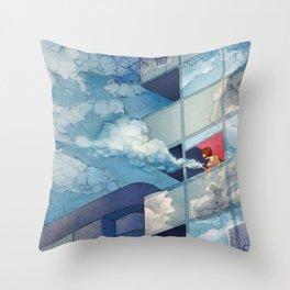 Cloudy floor Throw Pillow