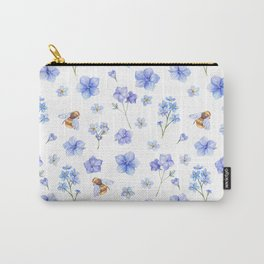 Elegant lavender brown watercolor honey bee floral Carry-All Pouch