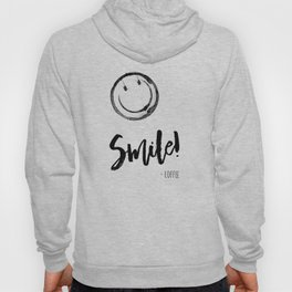 Smile! - Coffee - black and white version Hoody