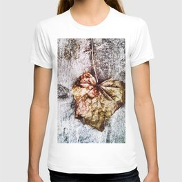 203 - abstract Gold/bronze leaf on wood design T-shirt